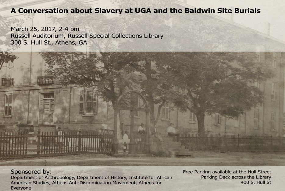 A photograph of the program for A Conversation About Slavery at UGA and the Baldwin Site Burials which shows enslaved African American workers sitting by the UGA arches.